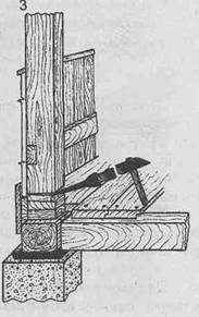 Стены из бруса - Вырубание прокладок долотом при осадке стен