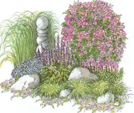 Расстановка визуальных акцентов в саду - пример размещения декоративных обьектов