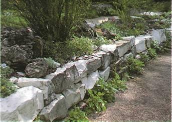 Ландшафтные работы на участке - Камни из белого известняка
