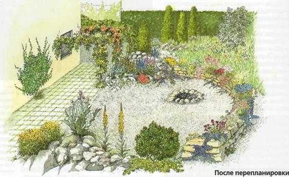 Вместо газона - ландшафтный сад - планеровка сада 2